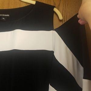 Nina Leonard Dresses - Navy XL Nina Leonard cut out shoulder wing sleeves